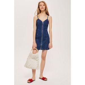 NWOT Topshop Zip Denim Dress 2